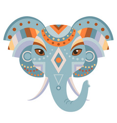 elephant head logo decorative emblem vector image