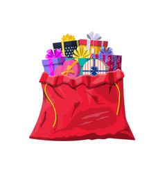Gift boxes in cloth bag vector
