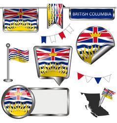 glossy icons with flag of province british vector image