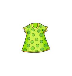 Green summer polka dotted dress for a little girl vector