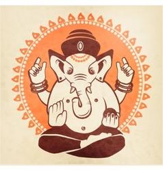 Indian god Ganesha on a beige background vector image