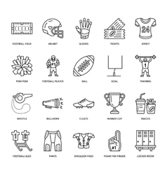 Line icons of american football game vector