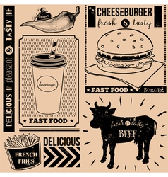 Menu pattern with fast food symbols vector image