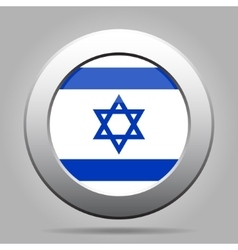Metal button with flag of israel vector
