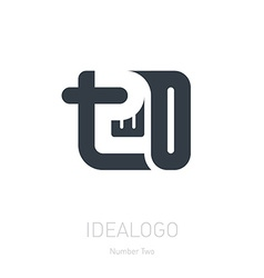 Number 2 logo sign number two Logotype or design vector image