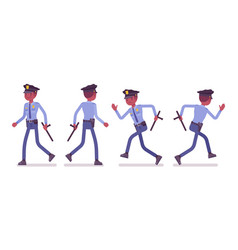 policeman walking and running vector image vector image