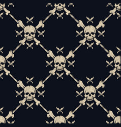 seamless pattern pirate skulls vector image vector image