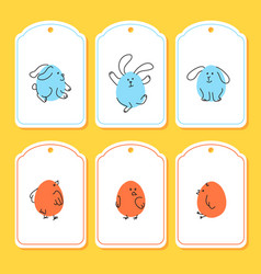 Set of funny easter tags with bunny chick vector