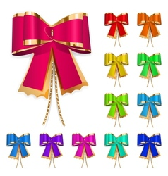Set of multicolored bows vector image vector image