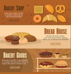 set of three horizontal bakery shop banners with vector image vector image