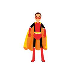 superhero man in orange cape vector image vector image