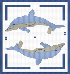 two dolphins in the square vector image