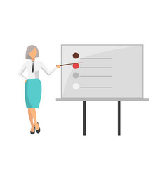 woman giving information on vector image