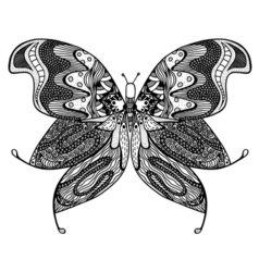 Zentangle stylized butterfly vector image vector image
