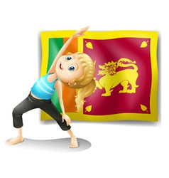 A girl in front of the flag of Sri Lanka vector image