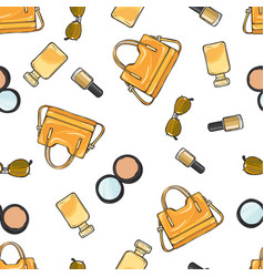 Set of accessories purse nail polish powder vector