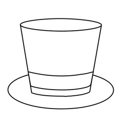 monochrome contour of top hat with ribbon in vector image