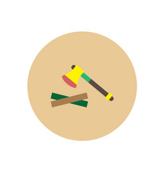 stylish icon in circle wood and an ax vector image