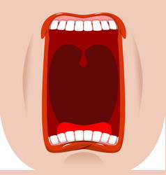 Open mouth facial teeth and tongue hunger yawns vector