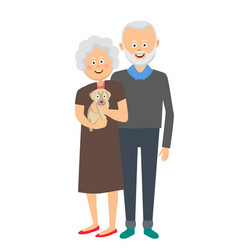Senior couple standing with a puppy dog vector