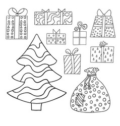 Set of cute cartoon giftboxes presents and vector