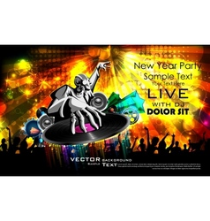 Disco jockey playing music on new year party vector