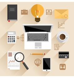 Businessman work desk flat concept vector