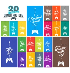 Collection of gaming related posters vector