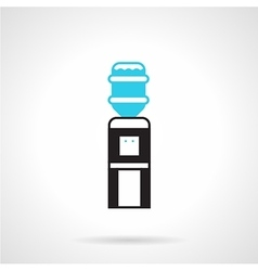 Black water dispenser flat icon vector