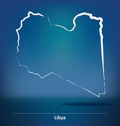 Doodle map of libya vector