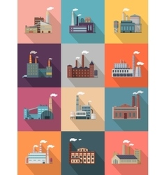 Set of building plant or industrial factory vector