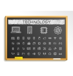 Technology hand drawing line icons chalk sketch vector