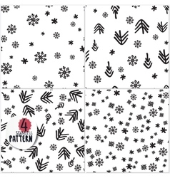 Set of simple christmas patterns vector