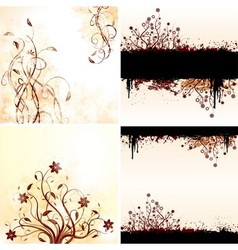 Grunge floral backgrounds vector