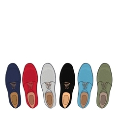 Advertising mens shoes assorted colors and sizes vector image