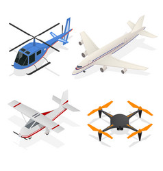 air crafts set isometric view vector image