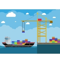 cargo ship and container crane vector image vector image