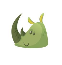 cartoon simple rhino head vector image vector image