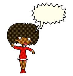 Cartoon waving girl with speech bubble vector