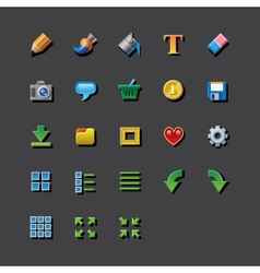 Colorful web app graphic editor tools icons vector image