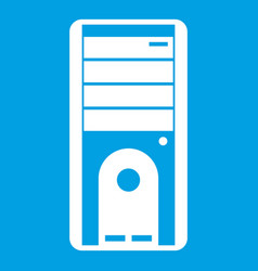 Computer system unit icon white vector