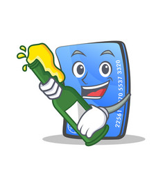 Credit card character cartoon with beer vector