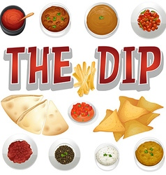 Different kind of dips and chips vector