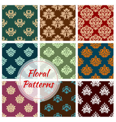 Floral pattern of seamless flower ornament vector