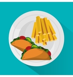 French fries and taco design vector
