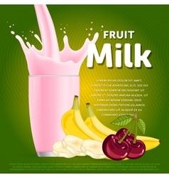 Fruit mix sweet milkshake dessert cocktail vector image