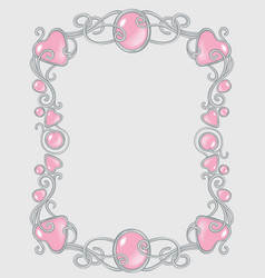Gem frame gentle pink for baby princess template vector