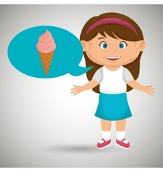 girl cartoon ice cream vector image