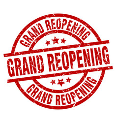 Grand reopening round red grunge stamp vector