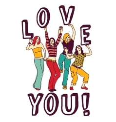 Group young woman love sign color vector